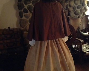 Civil War Womens Prairie Pioneer Civil War Colonial Print Skirt with Sash Bouse and Brown Cape 4 piece set