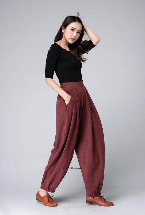 Pleated Trousers Red Linen Pants Women Trousers Lovely By