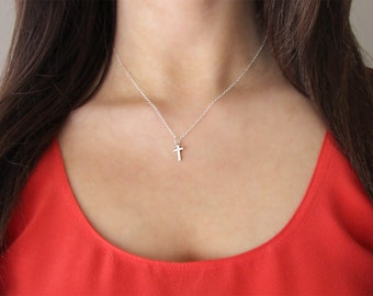 Teeny Tiny Sterling Silver Cross Necklace