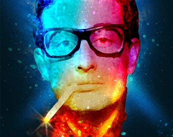 8.5 x 11 BUDDY HOLLY Rockabilly Custom Glittery Art Print Digital Painting Without frame Unframed Purchase frame separately.