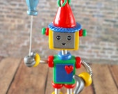 Robot Birthday Cake Topper with Balloon Mini Sculpture BIRTHDAY KEEPSAKE