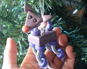 Reindeer Bot PURPLE PARKIN Geeky Robot  Christmas Ornament - Clay, Wire, Paint