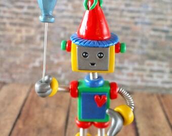 Robot Birthday Cake Topper with Balloon Mini Sculpture BIRTHDAY KEEPSAKE