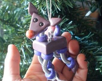 Reindeer Bot PURPLE PARKIN Geeky Robot  Christmas Ornament - Clay, Wire, Paint