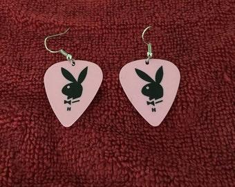 Pink Playboy guitar pick earrings