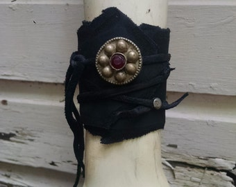 Crimson Gem Leather Cuff -- wasteland weekend burning man tribal fusion larp barbarian apocalyptic apocalypse steampunk dieselpunk