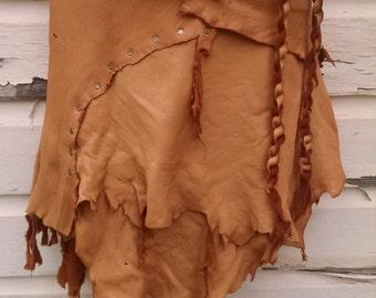 Henna Leather Wrap Skirt -- burning man wasteland weekend tribal fusion belly dance amazon larp barbarian woodland