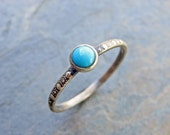 Antiqued Sterling Silver Turquoise Stacking Ring with Dotted Band Featuring Blue or Green Arizona Turquoise - December Birthstone