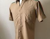 Vintage Men's 80's Tan, Cricket Shirt, Short Sleeve by John Henry (M)