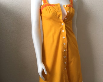 Vintage Women's 80's Yellow-Orange Dress, Sleeveless, Knee Length by One Main Place (XS)