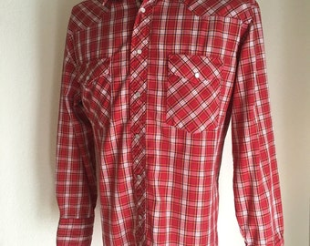 Vintage Men's 80's Wrangler, Shirt, Western, Red, Plaid, Long Sleeve (L)
