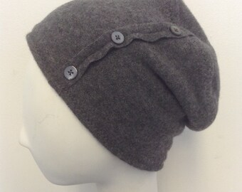 Pure Cashmere Rollup hat, slouch beanie, gray, with buttons.  FREE SHIPPING in the US