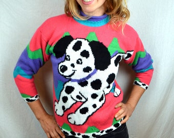 Vintage 80s Puppy Dog Knit Sweater