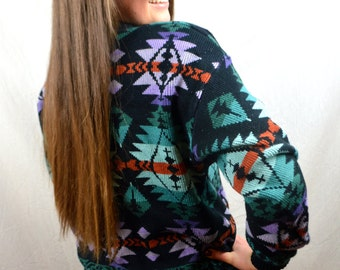 Vintage 80s Sunset Aztec Southwest Geometric Sweater