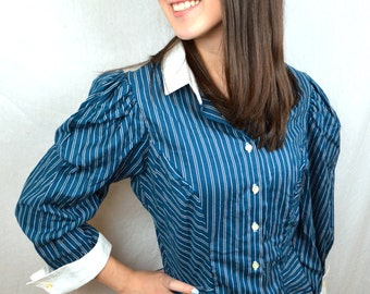 Vintage 1970s 80s Eber San Francisco Striped Puffed Sleeve Blouse