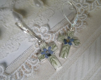 Forget-Me-Nots Small Cross Real Pressed Flower Leverback Earrings-Symbolizes True Love, Memories, Remembrance-Gifts Under 28-Nature's Art
