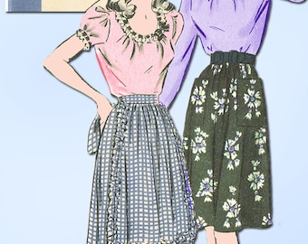 1940s Vintage Hollywood Sewing Pattern 1272 Misses WWII Skirt and Blouse Size 12