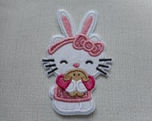 Free Shipping   Ready   to Ship Kitty with a bunny Fabric Iron on applique