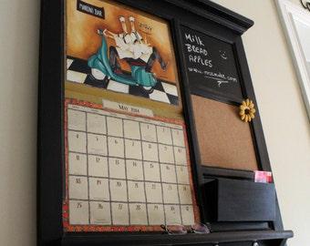 Home Decor Wall Calendar Front Loading Mail Organizer Family Planner Storage Shelf, Bulletin Board Cork, Chalk board Keyhook Mail Holder