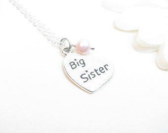 Big Sister Necklace - Sterling Silver with Pink Pearl // Big Sister Jewelry // Big Sister Gift