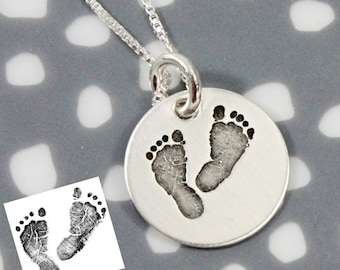 Actual Footprints Necklace - Footprint Jewelry - Sterling Silver Footprints - Remembrance Memorial Necklace - Silver, Rose Gold, Yellow Gold