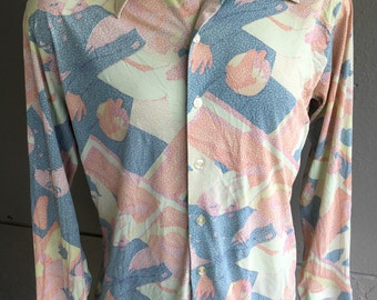 1970s disco floral pastels long sleeve vintage shirt size large