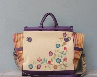 Sweet Escape Weekender Travel Bag - Leather Caryall, Vintage Embroidery and Linen Floral Striped Traveling Bag