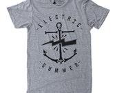 Mens Electric Summer Shirt - athletic grey t-shirt, sailor graphic tee, anchor screenprint