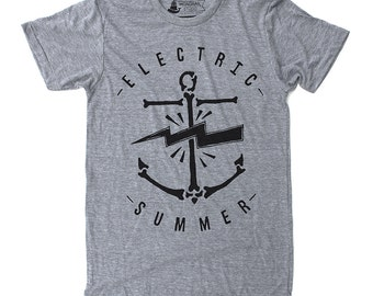 Mens Gift, Anchor Shirt, Gift for Him, Summer Vibes, Beach Graphic Tee - Electric Summer