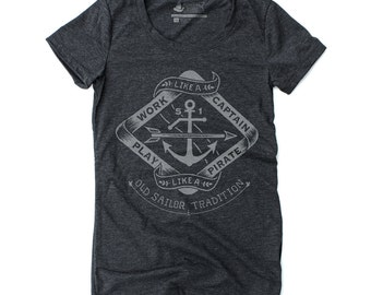 For Her T-Shirt, Fishing Shirt, Motivational Tee, Gifts for Women, Womens Graphic Tee - Play Like A Pirate: