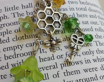 Yellow & Orange Honeycomb Bee Flower Dangle Necklace with Key and Faceted Sparkling Glass Beads - Adult or Child,  Fairy, Costume, Faire