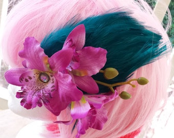 Duos: Jeweled Fairy Hair Clip Fascinator Orchids on Teal Feather Pad with Bud Spray - Bridal, Wedding, Cosplay, Burlesque