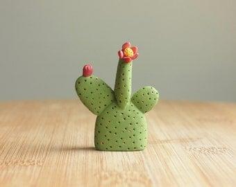 Miniature Cactus Figurine - clay cactus plant, mini clay figure, prickly pear, table decor, cute desk accessories, shelf decorations