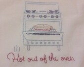 FREE SHIPPING! Vintage style Hot out of the Oven Kitchen dish towel Help with a mission trip