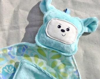 Aqua Bear Lovey Lovie Blanket - Smooth Minky - Aqua or Light Teal Color  - Gentle Rattle Sound