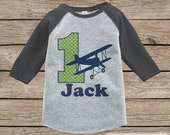First Birthday Airplane Outfit - Boys 1st Birthday Onepiece or T-shirt - Biplane Grey Raglan Shirt - 1st Birthday - Boys Birthday Raglan Tee