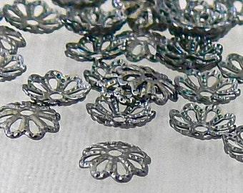 Fancy Antiqued Silver Metal Bead Caps 6mm 50 Pcs