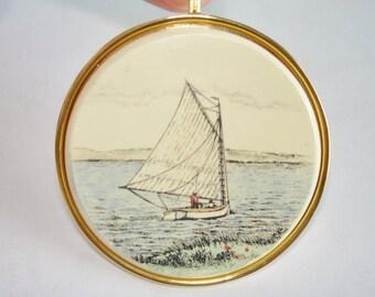 Scrimshaw Cat Boat Hand Painted  Pendant Gold Tone