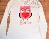 Girls Valentines day shirt, Owl Applique Shirt, Owl Valentine's Day Shirt, Valentines Embroidered Bodysuit