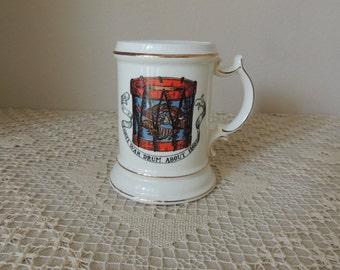 White Porcelain Civil War Drum Mustache Cup. Gold Trimmed Drum Mustache Mug. Civil War Drum About 1860 Ceramic Cup
