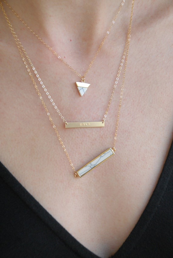 Marble Stone Jewelry : Howlite white stone necklace marble bar gold by