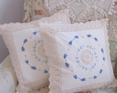 Gorgeous decorative Pillow Cases, Crochet, Embroidered, Applique, Decorative Pillow Cases, French Country, by mailordervintage on etsy