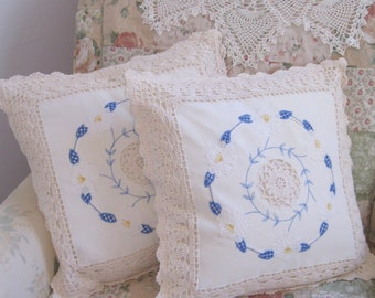 Two Pillow Cases, Crochet, Embroidered, Applique, Decorative PillowCases, French Country, by mailordervintage on etsy