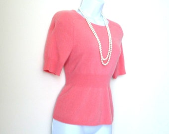 Coral - Cashmere - Sweater - Jumper - Pullover - Short Sleeves - Romantic - Girly - Recycled - Eco Friendly - Size Medium - Fuzzy - Soft