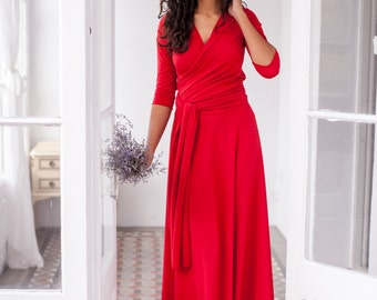 Long red dress, long wrap dress, red 3/4 sleeve gown, red long sleeve maxi dress, convertible wrap dress, red long dress, red evening dress