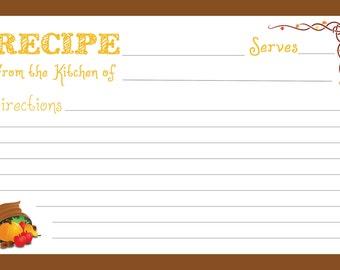 Thanksgiving Recipe Cards 4x6