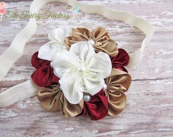 Flower Headband, Dark Red Ivory & Gold Satin Flowers w/ Pearls Ivory Headband, The Grace, Baby Toddler Child Girls Headband