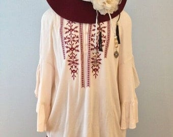 Garnet embroidered Coachella cream angel sleeve blouse by Gina Louise Plus Size
