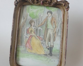 Marianne and Willoughby.  Framed Original Watercolor. Sense and Sensibility. Jane Austen Art.