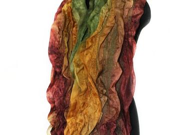 Handmade Nuno Felted Scarf Textured Earthy Multicolor Felt Wrap OOAK Felt Gift Wool Silk Felt Fall Fashion